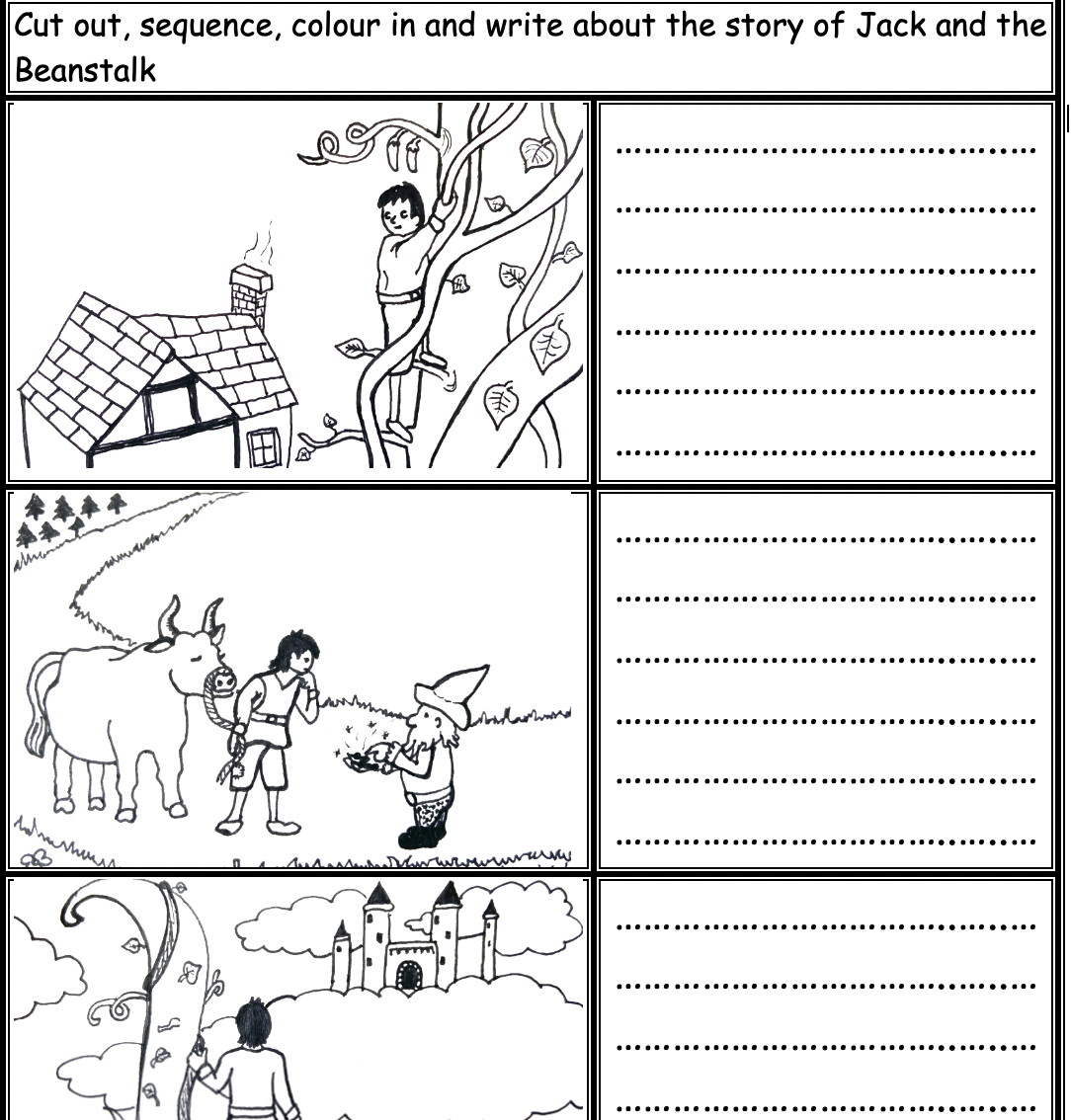 Jack And The Beanstalk Black And White Printable To