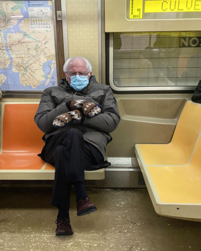Bernie On The Subway In 2021 Bernie Memes Know Your Meme Memes