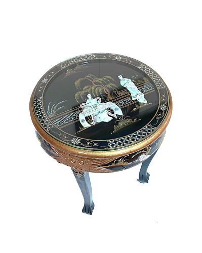 Oriental Furniture Black Lacquered With Mother Of Pearl