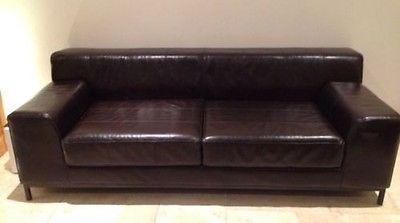 Best For Sale Ikea Kramfors Dark Brown Leather 3 Seater Sofa 400 x 300