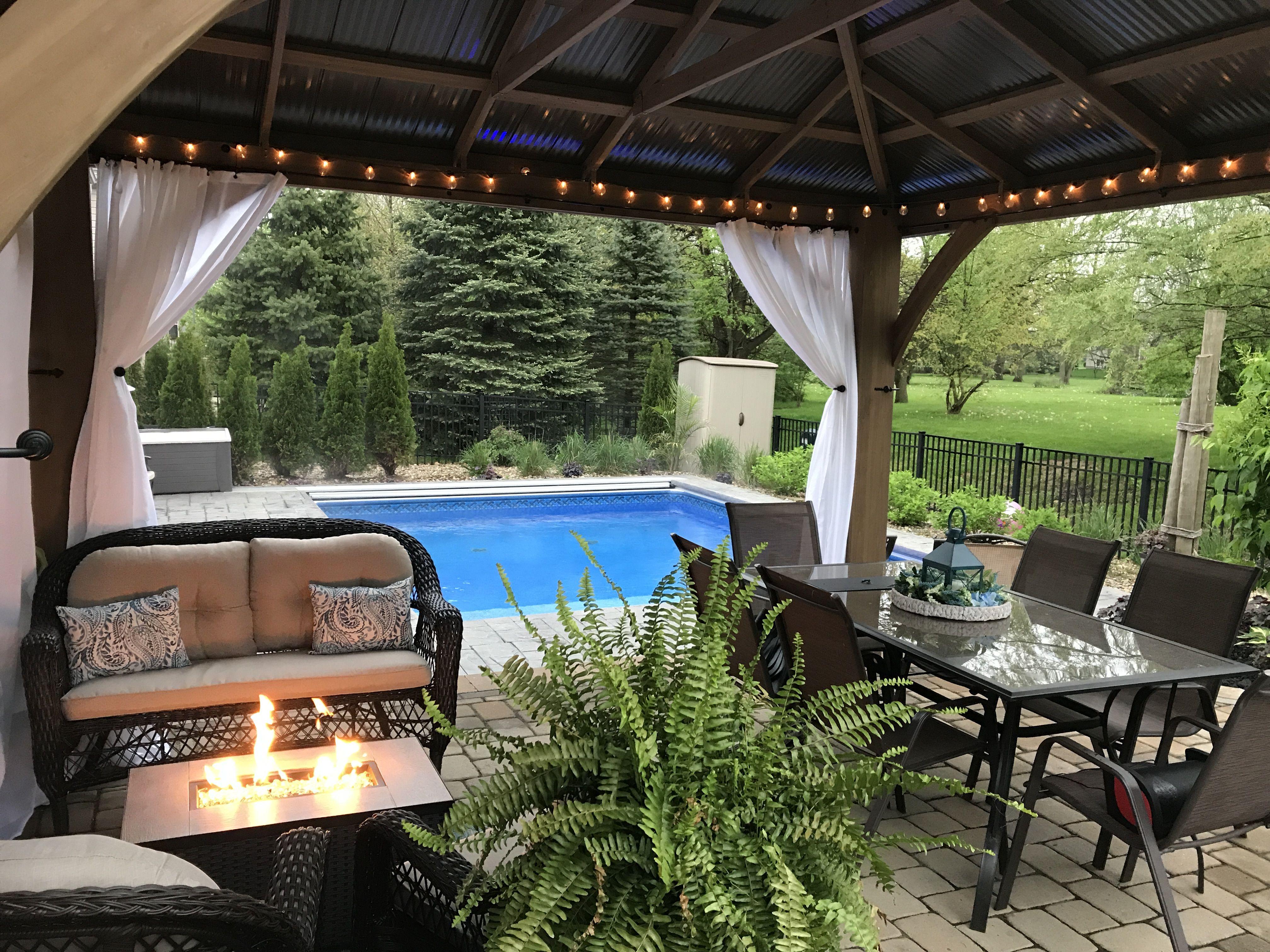Pergola and fire pit table with pool Pergola, Pergola