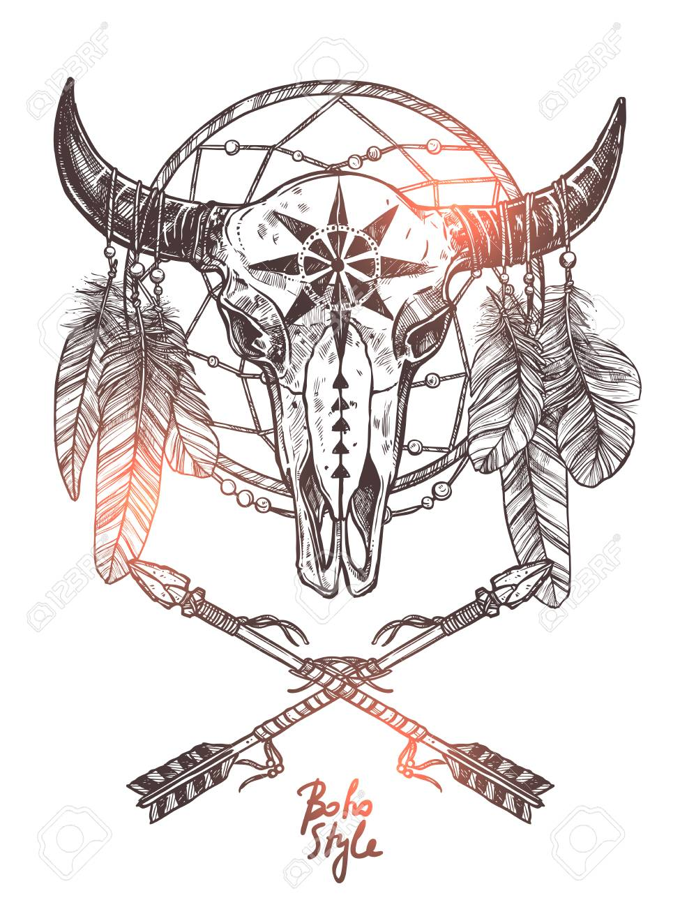 Boho Sketch Illustration With Hand Drawn Bull Skull With Indian Arrows Feathers And Dreamcatcher Monoch Indian Skull Tattoos Bull Skull Tattoos Boho Sketches