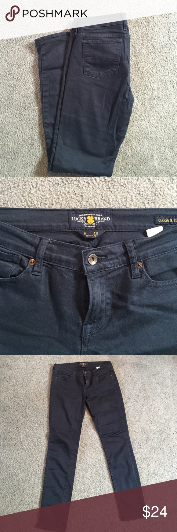 "Navy Lucky Pants Navy ""Charlie skinny"" style with slight bootcut Lucky pants - size 8 / 29! Lucky Brand Pants"