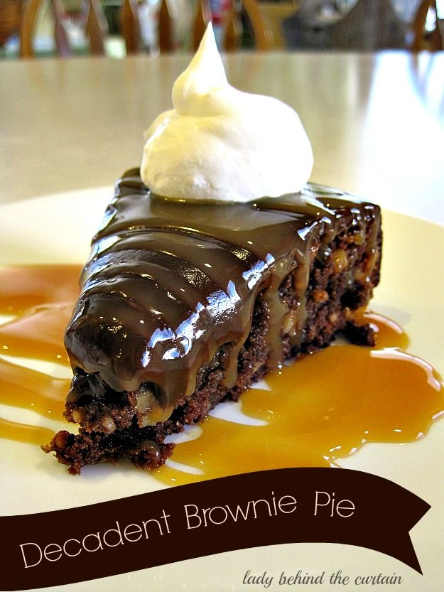 Decadent Brownie Pie!  I love chocolate.. but add in some caramel and I'm in heaven!  This looks like such an amazing treat!