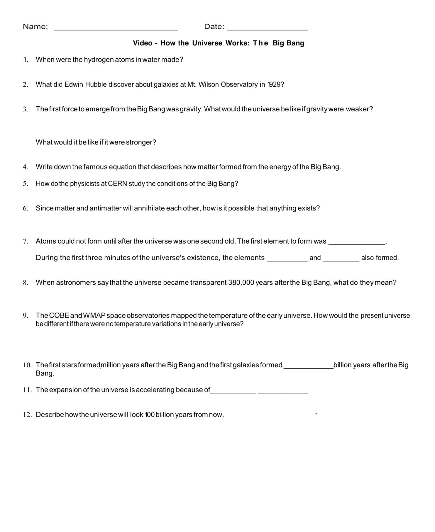 Journey To The Edge Of The Universe Worksheet Answers