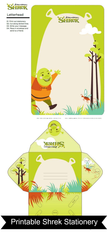 Free Printable Shrek Stationery Set | diy | Pinterest | Shrek ...