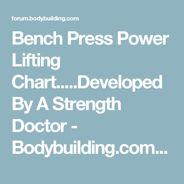 Bench Press Power Lifting Charteloped By A Strength Doctor