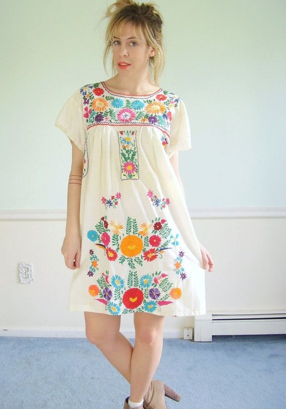 Love this dress!! -- Mexican Embroidered Vintage 70s SS White Cotton Mini  Boho