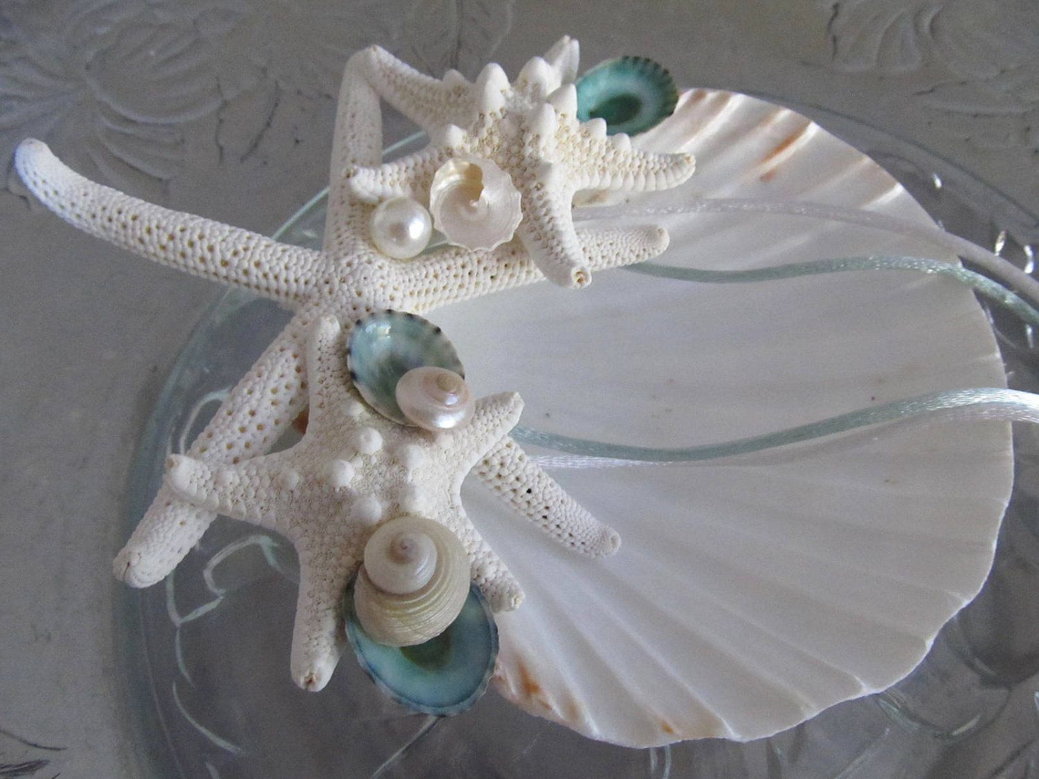 Beach Wedding Ring Bearers Shell with Starfish Turquoise Limpets