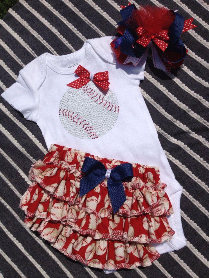 3ef0d0124 Baby girl baseball body suit  ruffled baseball bloomer  baseball ...