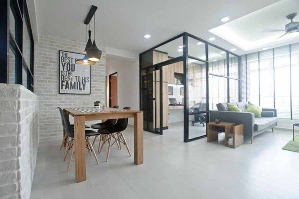 Chic Glass Partition Design Ideas For Your Living Room 40 ...
