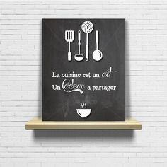 Tableau citation cuisine design et vintage ardoise tableau à craie
