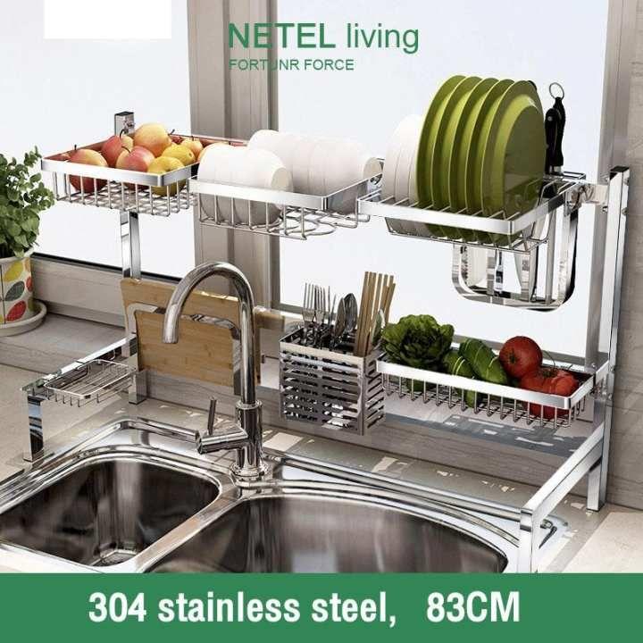 Netel 304 Stainless Steel Dish Rack Free Match Nonslip Kitchen Dish Drying Rack Foldable Storage Shelf On Top Kitchen Sink Free Shipping Kitchen Tops Dish Rack Drying Kitchen Dishes