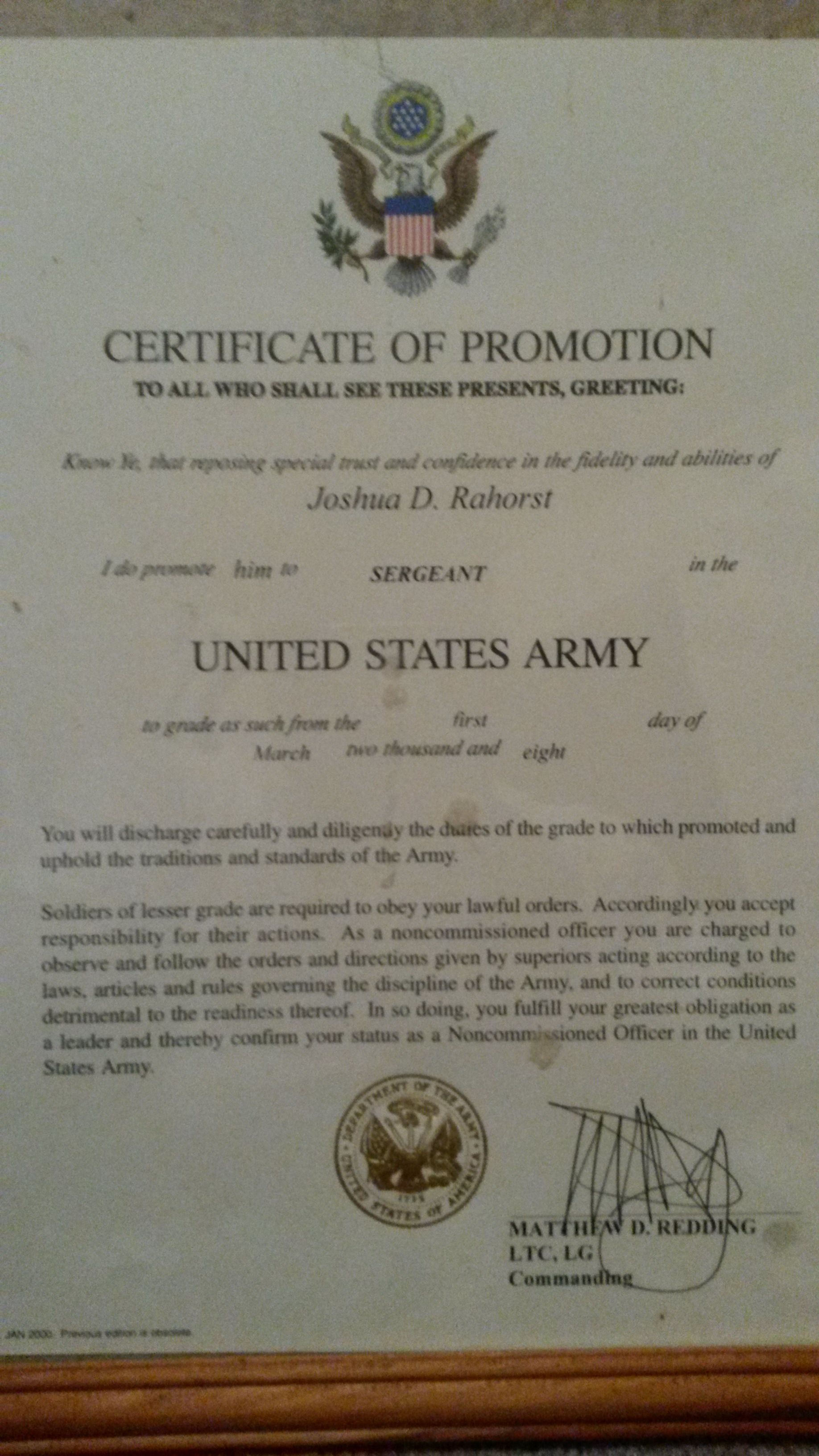 Certificate Of Promotion To Nco My Army Career Pinterest