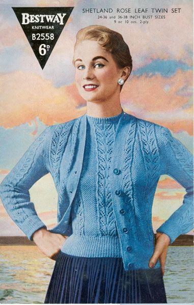 0d0429116 Bestway B2558 rose leaf twin set knitting pattern 1940s