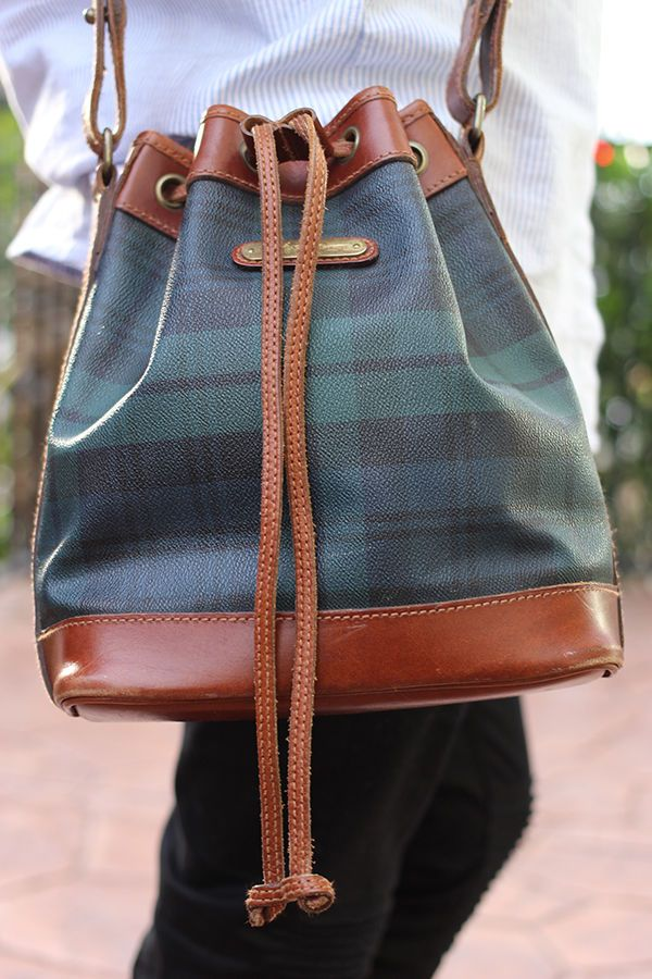 b066ace5c2b3 Rare Vintage Polo Ralph Lauren Blackwatch Plaid Leather Bucket Bag ...