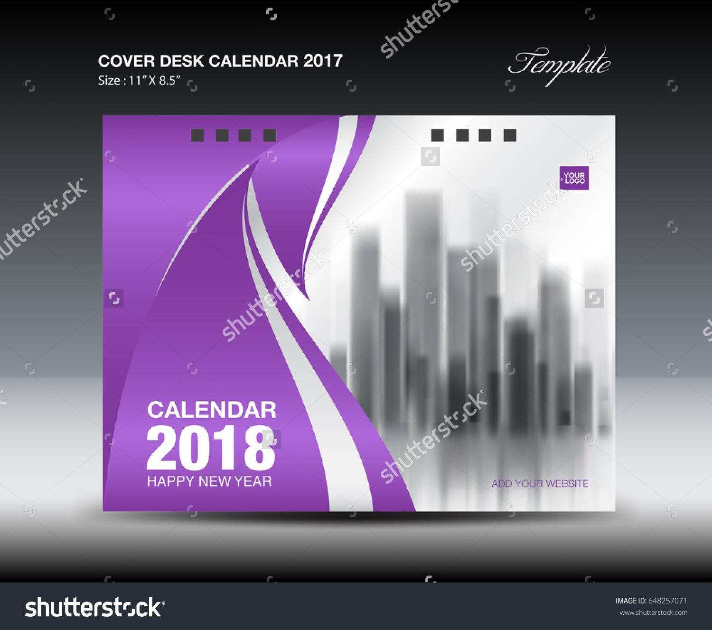 Purple Cover Desk Calendar  Design Business Brochure Flyer