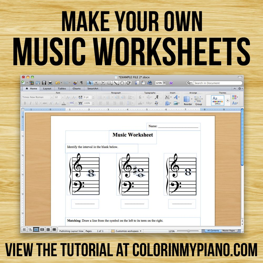 Making Music Worksheets using FREE png Files from colorinmypiano – Band Worksheets