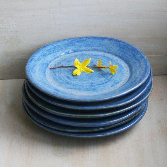 Ceramic Dinnerware Rustic Indigo Blue Dinner Plates by sheilasart $210.00 & Ceramic Dinnerware Rustic Indigo Blue Dinner Plates by sheilasart ...