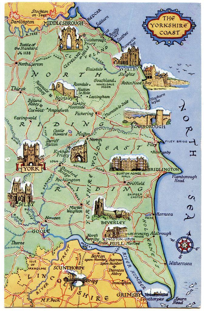 Postcard Map Of The Yorkshire Coast Rejser Og Storbritannien