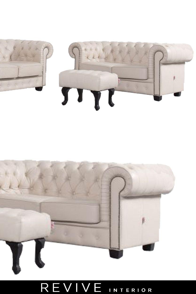Chesterfield Leder Sofa Garnitur Creme Beige Dreisitzer Couch