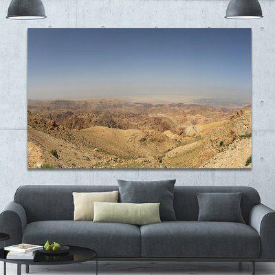 Designart Panorama Desert Hills Jordan Photographic Print On Wrapped Canvas Size 40 H X 60 W X 1 5 D Landscape Canvas Art Landscape Canvas Design Art