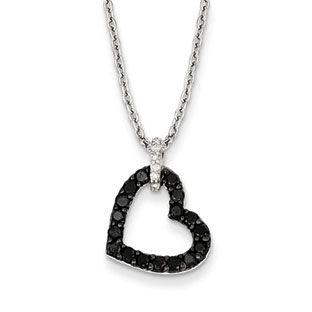 12 carat white black diamond open heart pendant necklace in silver 12 carat white black diamond open heart pendant necklace in silver aloadofball Choice Image