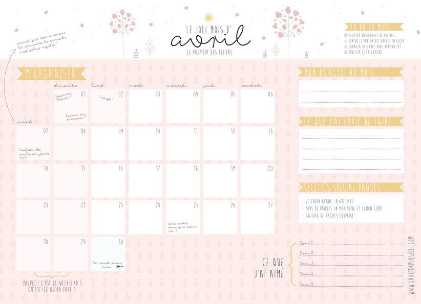 Calendrier du mois d'avril à imprimer | Calendrier, A imprimer