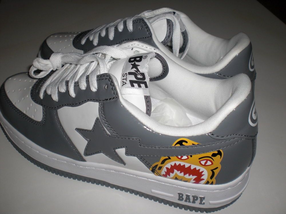 bcc5ba1780e2 Authentic A Bathing Ape Bape tiger bapesta sneakers shoes new US 8 rare  shark in Clothing