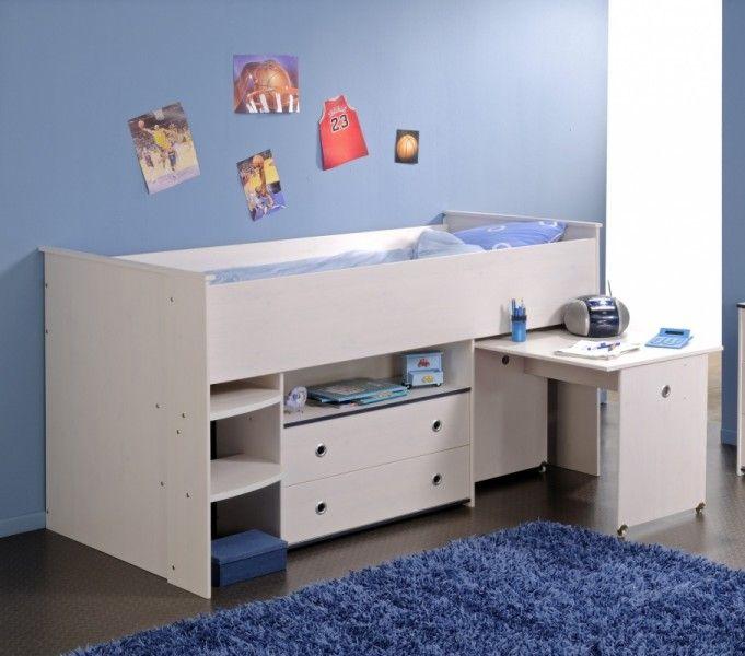Hochbett WOOZY mit Leiter in blau #Hochbett #Kinderbett #Bett - hochbett mit schreibtisch 2