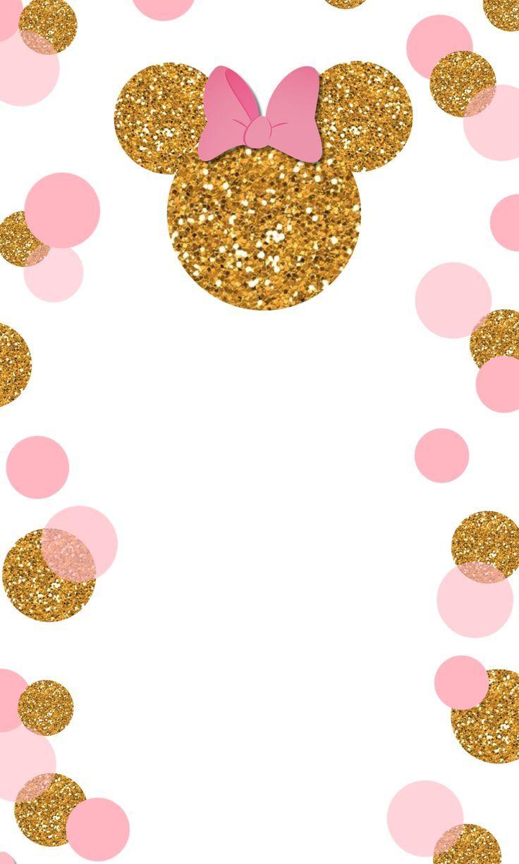 Plantilla Dorado Mimi Invitación De Minnie Mouse Tarjetas