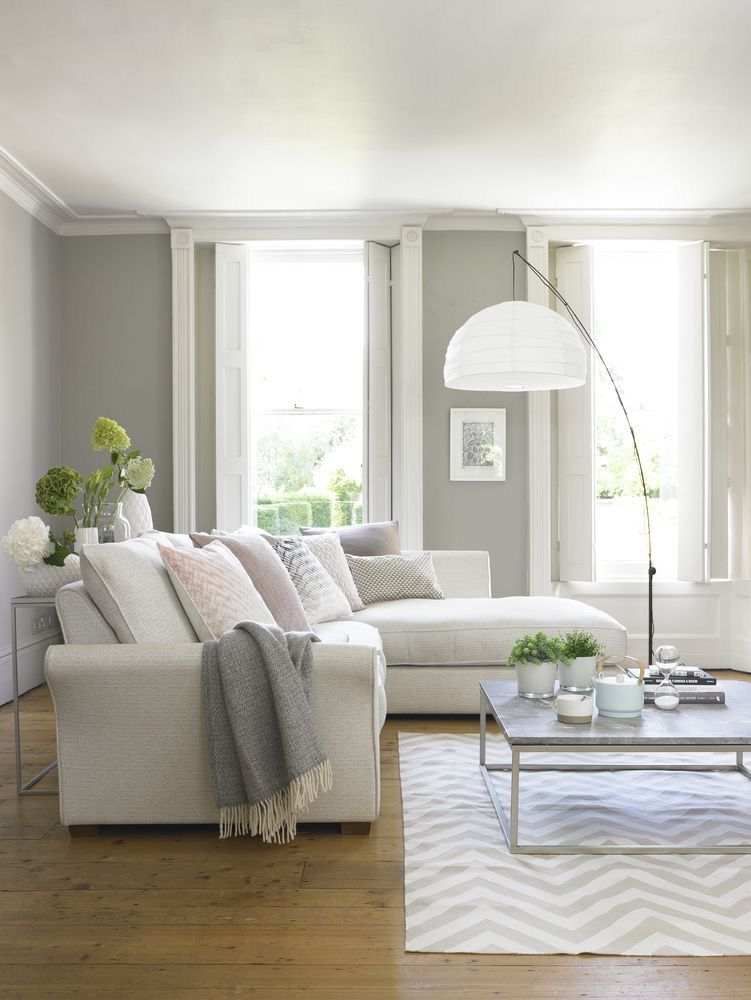 Beautiful Light And Airy Room With Comfortable Sofa, Large Lamp And  Metallic Coffee Table. We Love This Look For Calm And Simple Home Living.