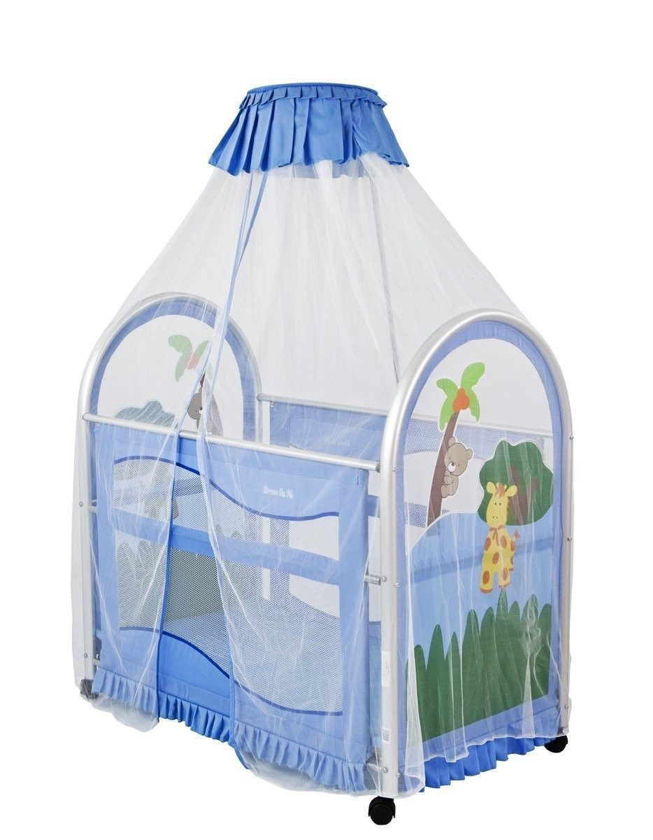 Dream On Me Cassidy Canopy Playard Blue Unzips from the bottom for easy diaper changes; Generous sack design allows room for kicking but cannot be kicked ...  sc 1 st  Pinterest & Baby Portable Canopy Crib Netting Travel Boy Girl Playpen Mesh ...