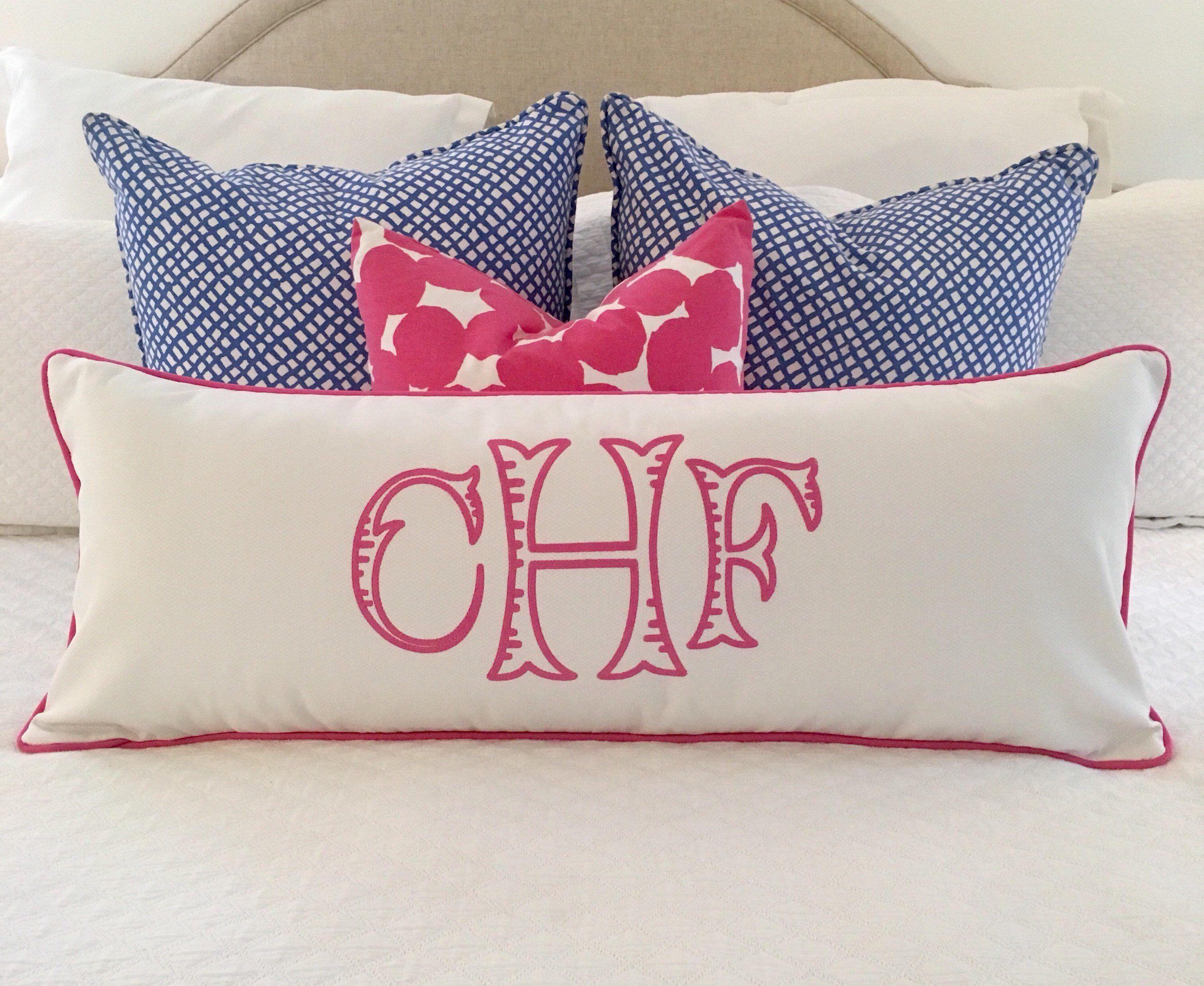 monogrammed lumbar pillow cover