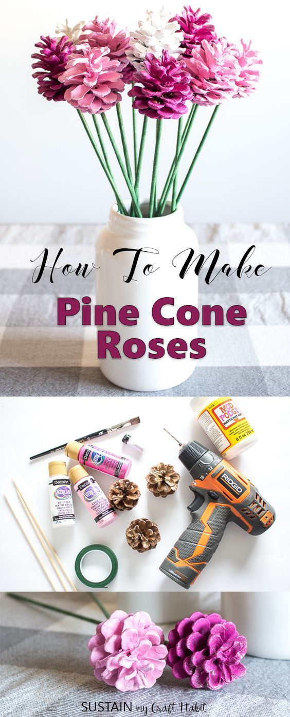 So simple and pretty!!! Learn how to make Pine Cone Roses #pineconeflowers