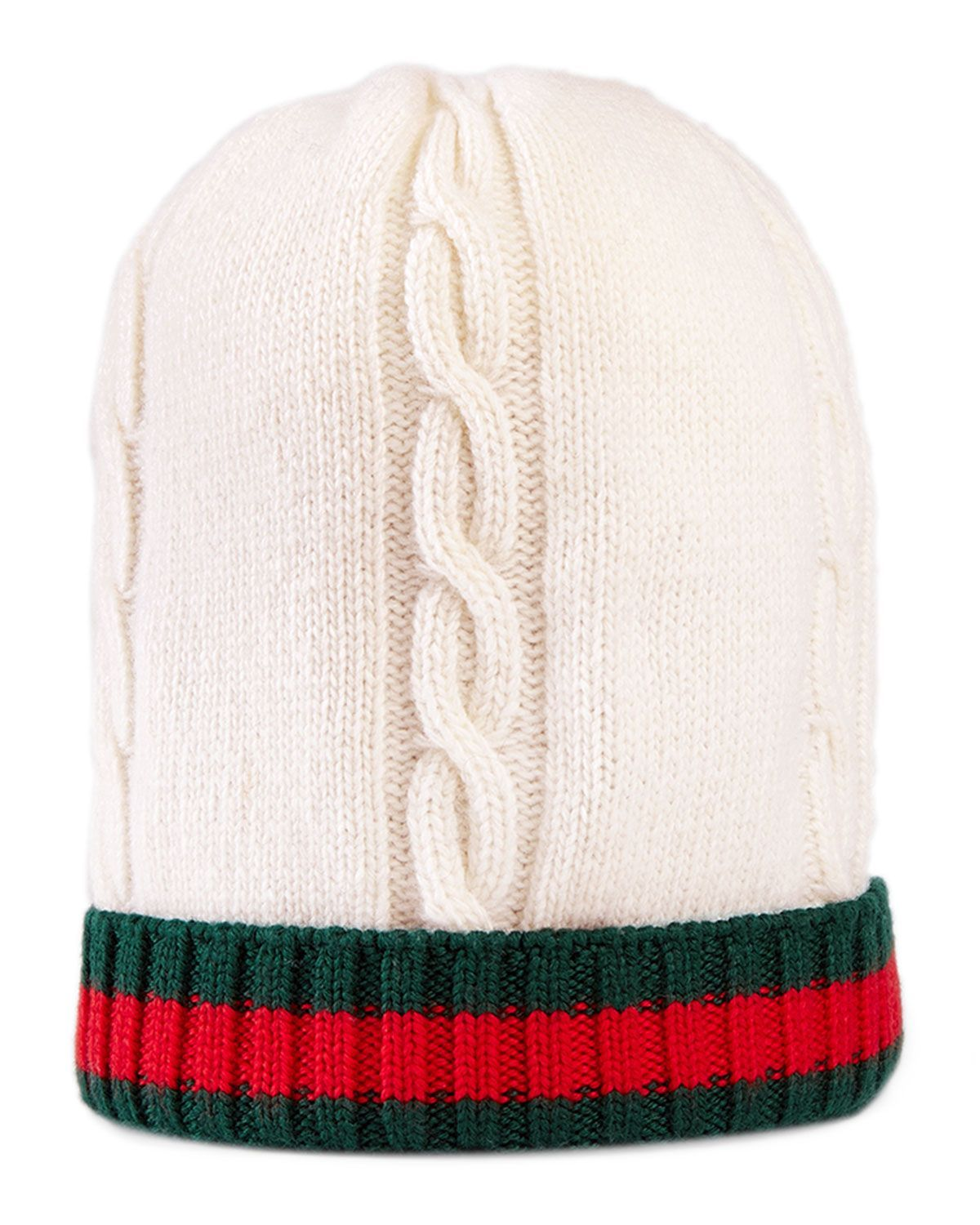 3c25852c Gucci Wool Web-Trim Tricot Beanie, Kids Unisex, Size: L, White/Dark Green