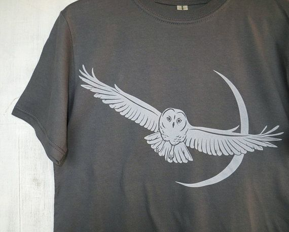 Mens Graphic Tee- Organic Cotton T Shirt- Mens Gray T Shirt- Hawk Screen Printed Shirt with Pine - 100% Organic Cotton Clothing for Men