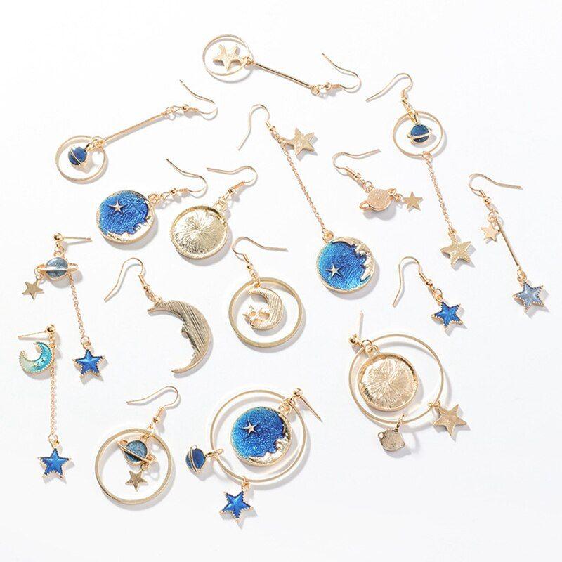 Moon Star Planet Drop Dangle Earrings Asymmetric Crystal Earring Women JewelryPD