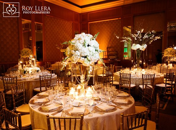 An Elegant Reception At Four Seasons Hotel Miami Features Tall White Centrepieces And Crystals For