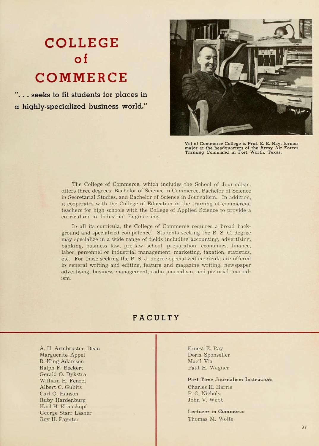 """Athena yearbook, 1946. """"College of Commerce"""" included the School of Journalism and offered the BSJ. :: Ohio University Archives"""