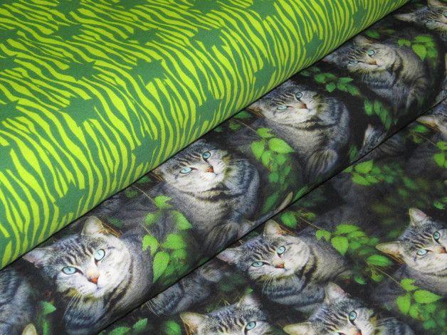 Stoff Sterne - Jersey Sterne auf Zebra Muster in grün-lime - ein Designerstück von Polly-Pocket77 bei DaWanda