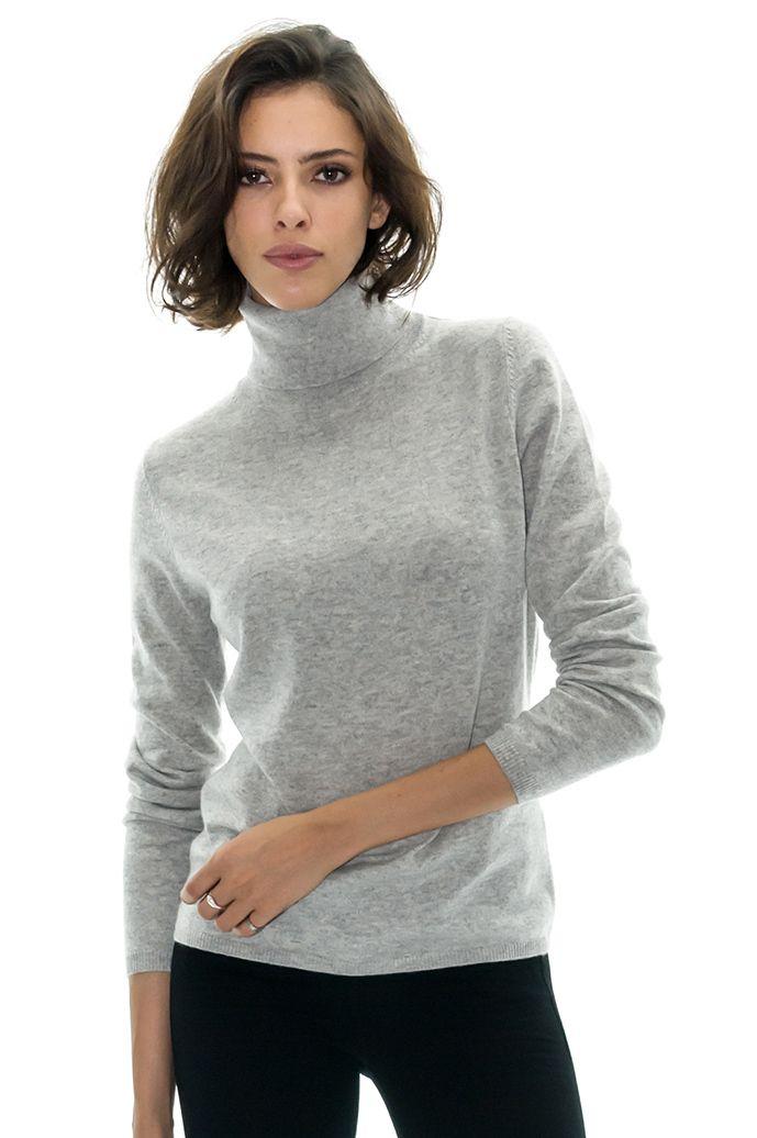 pull argenté femme col roule