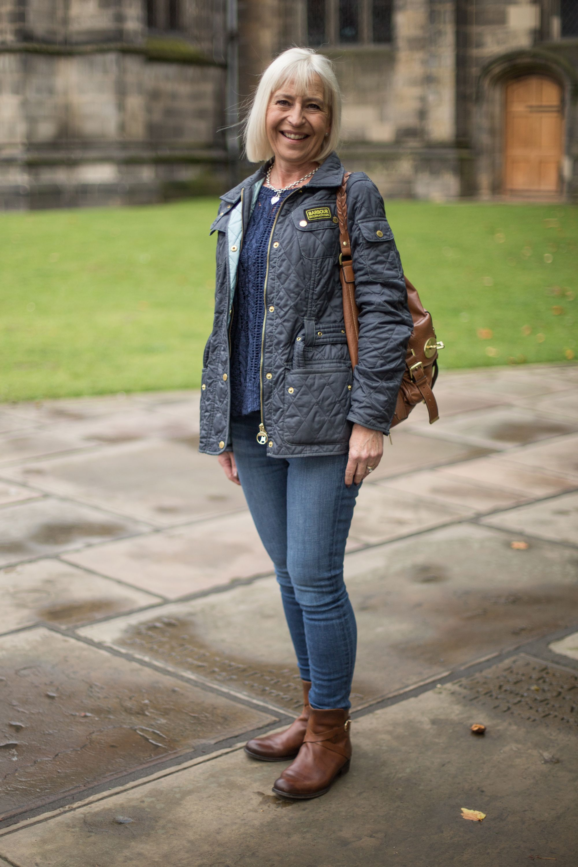 We spotted Anne wearing her Barbour International Quilted