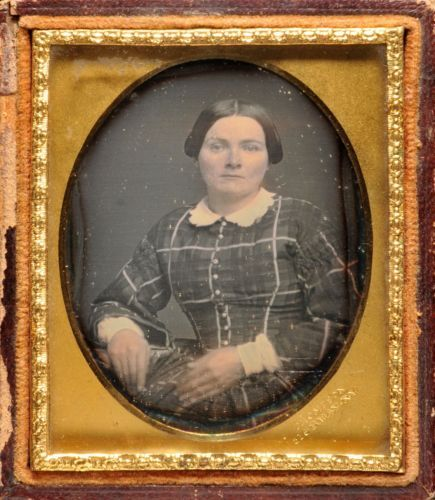 Daguerreotype of Woman in Plaid Dress Stamped by Thompson of New York | eBay