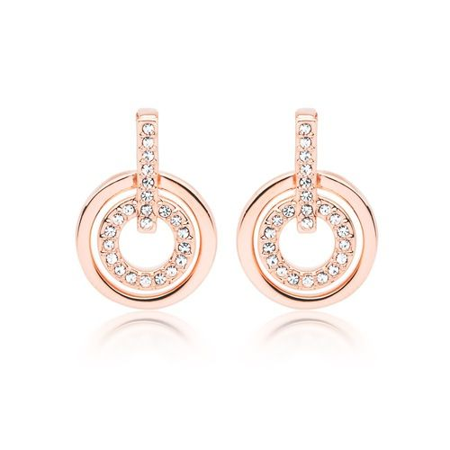 Concentric Circle Earrings: Concentric Circles Earrings Rose Gold Plated