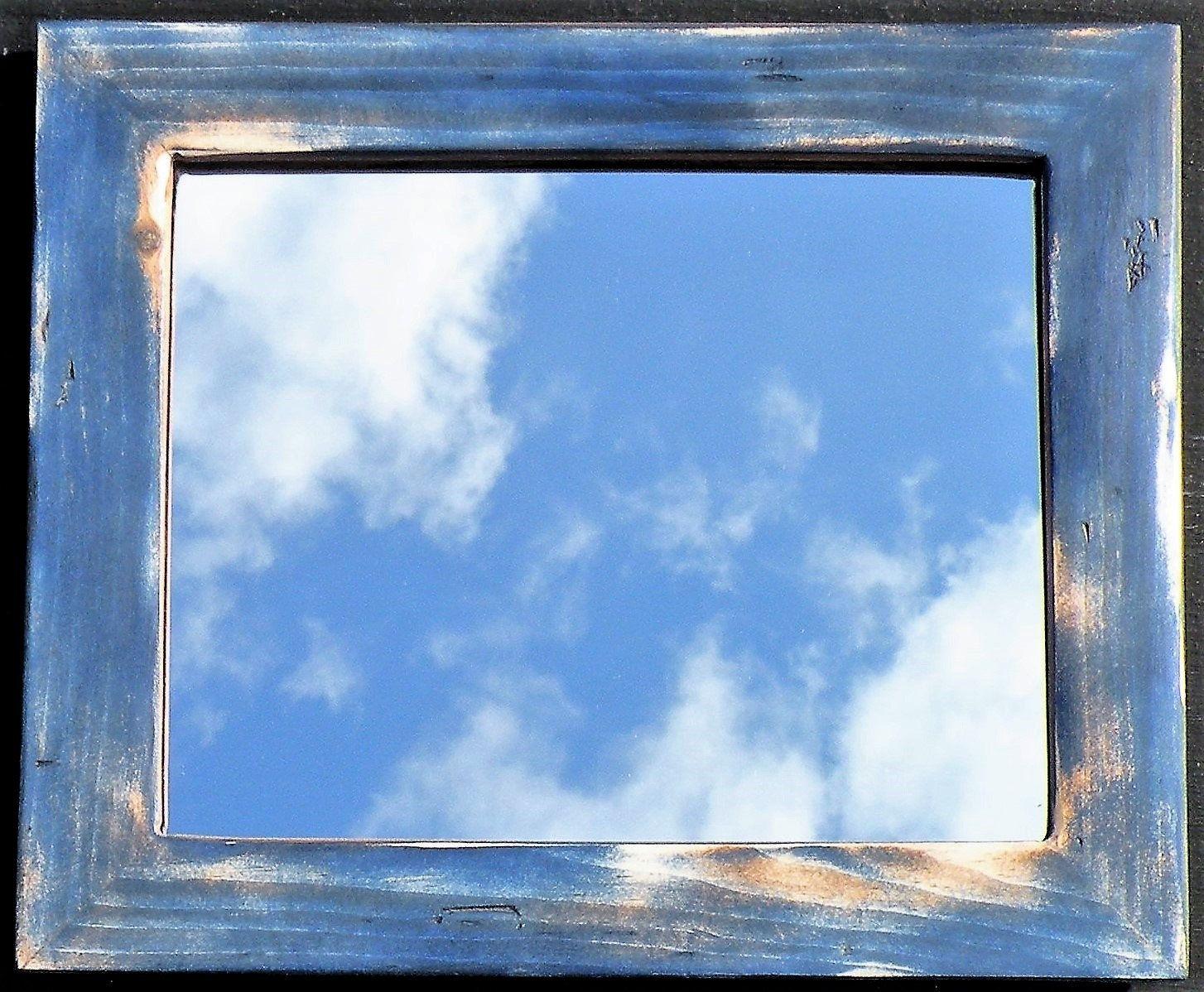 Vintage Denim Navy Blue Rustic Pine Wood Framed Mirror