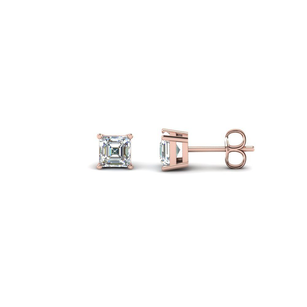 Half Carat Cher Stud Earrings With Diamonds In 14k Rose Gold Exclusively Styled By Fascinating
