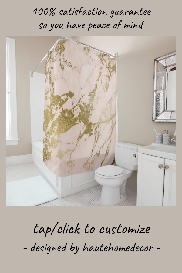 Trendy Blush Pink Gold Marble Shower Curtain Zazzle Com In 2020 Marble Showers Gold Marble Pink And Gold