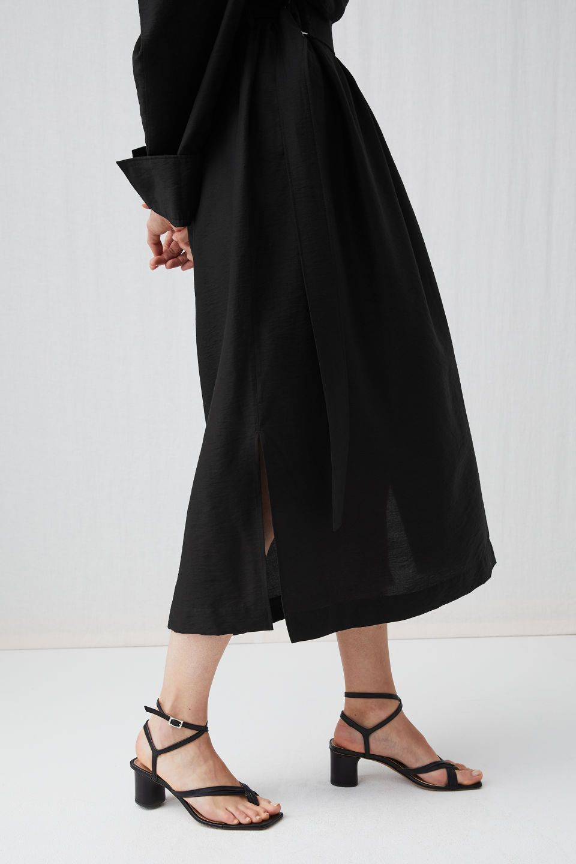 94b621e9d10 Side image of Arket ankle-wrap leather sandal in black