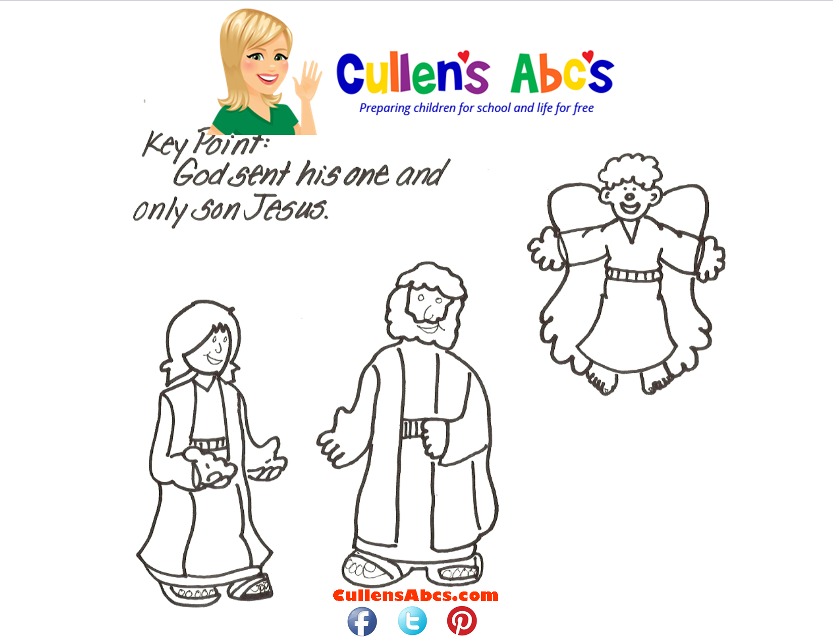 Angels Telling The Good News Bible Key Point Coloring Page
